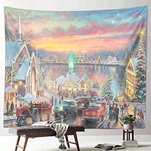 Nueva escena de nieve navideña tapiz decoración año nuevo tela arte colgante pintura pared colgante tela de fondo A6 150x200cm