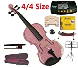 Merano 4/4 Full Size Pink Student Violin with Case and Bow+Extra Set of Strings, Extra Bridge, Shoulder Rest, Rosin, Metro Tuner, Black Music Stand, Rubber Mute
