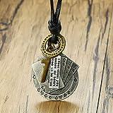 Herren Halskette Anhänger Schmuck Lucky Fortune Vintage Männer Leder Seil Halskette Spielkarten Charme Männliches Kreuz Schmuck-Silber