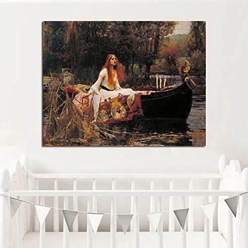 jiushice Mujer Retrato Lienzo ng Vintga Carteles e Impresiones escandinavo nórdico Pared Imagen para Sala de Estar 1 50x70 cm