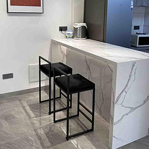 MYAOU Sgabelli da Bar in Velluto Set di 2 sgabelli Alti Neri con Schienale Basso Sedie da Cucina da Pranzo per camere da Letto del Bar per la Colazione, 65 cm
