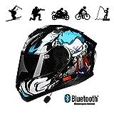 WQWY Bluetooth Motorradhelm - Modularer DOT-geprüfter Moped Street Bike Racing Moto-Helm mit Sonnenblende und Bluetooth-Raum für Sonnenblenden für Junge Männer und Frauen A-XL