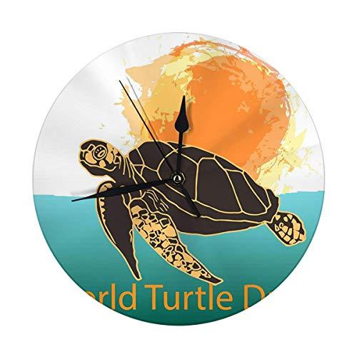 Mesllings Reloj de pared sin tictac, 24,8 cm, Día Mundial de las Tortugas 23 de mayo nadando en el océano contra el sol reloj digital redondo