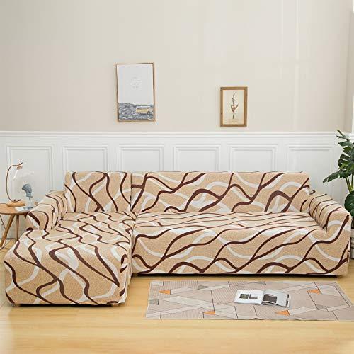 NIBESSER Funda de sofá con chaise longue elástica de 2 piezas, funda de sofá en forma de L, lavable, fundas para sofá esquinero para salón con motivos modernos (playa, 2 plazas + 2 plazas)