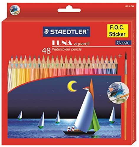 Staedtler Luna Watercolor Pencil 48 Shades, Free Gift!! Zipit Animals Mini Pouch