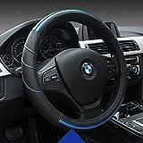 HCMAX Prämie Fahrzeug Lenkradabdeckung Auto Lenkradschutz Universal Durchmesser 38cm (15') Echtleder