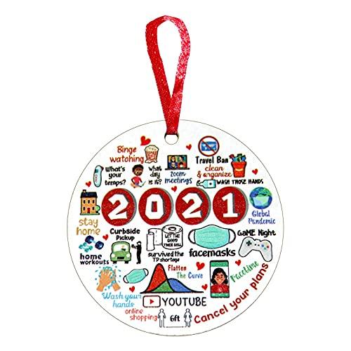 zebroau 1 colgante de árbol de Navidad para colgar adornos de madera, 2021 con aislamiento de memoria, colgante de disco de madera aislado para regalos de decoración de Navidad