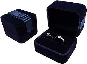 Bearda Velvet Double Ring Box - Navy Couple Bearer Ring Organizer Jewelry Earring Pins Gift Favor Case with Elegant Silk Box for Wedding, Engagement, Christmas (Ring Box)