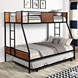 Twin Over Full Bunk Beds with Trundle ,Heavy Duty Metal Bed Frame with Safety Rail Side Ladders for Dormitory Bedroom Boys Girls Adults,No Box Spring Needed (Black)