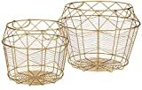Amazon Brand - Rivet Modern Tall Geometric Wire Baskets, Set of 2, 13.25'H and 10.75'H, Gold