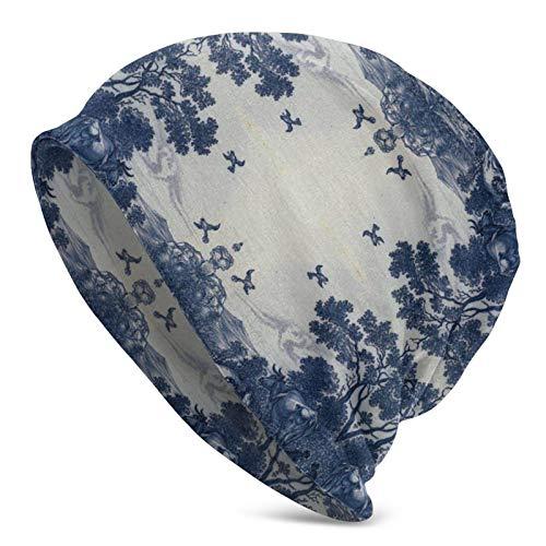 AEMAPE Gorro de Punto Gorros Gorro de Calavera Clásico Delft Azul Azulejo de cerámica Patrón Inspirado Gorro Holgado para Hombres/Mujeres Gorro de Punto Holgado