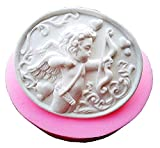 Stampo Silicone con Un Angelo Cupido con Arco in Forma Ovale - Sapone - Resina - Gesso - Idea Regalo...