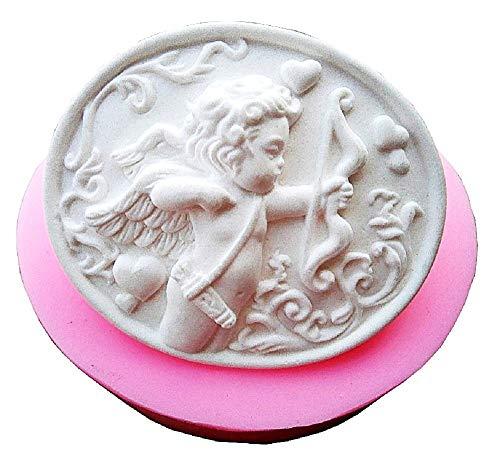 Stampo Silicone con Un Angelo Cupido con Arco in Forma Ovale - Sapone - Resina - Gesso - Idea Regalo Natale e Compleanno - Calchi in Silicone - Stampino per Uso Artigianale