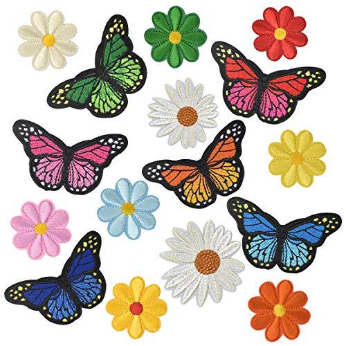 16× Applikationen zum Aufbügeln für Erwachsene Blumen Applikationen zum Aufnähen Kinder Aufbügler Flicken Aufbügeln Schmetterlingsmuster Stickerei Patch für Mädchen Jungs Aufbügel Patches zum Jeans