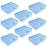 Goodma 8 Pieces Rectangular Plastic Boxes Empty Storage Organizer Containers with Hinged Lids for Small Items and Other Craft Projects (Blue, 4.5 x 3.3 x 1.1 inch)