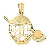 Jewels Obsession 18K Hockey Mask With Stick And Puck Pendant | 18K Yellow Gold Hockey Mask With Stick & Puck Pendant, Made in USA