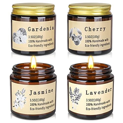 JBAILI Scented CandleGiftsSet,4Cans 3.5OZNaturalSoyWaxCherryJasmineLavender GardeniaforBathingYogaValentine's DayBirthday GiftforHer