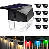 Solar Deck Lights Outdoor, Decorative LED Fence Post Solar Lights, Solar Powered Waterproof Steps Light for Garden, Patio, Railing, Porch, Stair, Warm White/Color Changing Lighting - 8 Pack