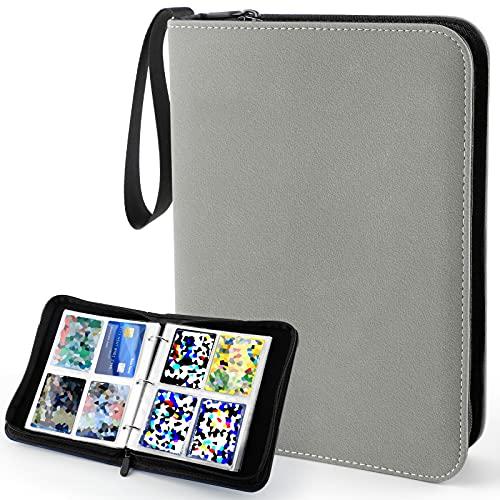 Álbum de recortes, tarjetas de colección, portafolios, 400 bolsillos, bolsa de transporte, carpeta, tarjetas, cuadernos para cartas de Pokemo Yugioh Ninjago, piel mate, color gris