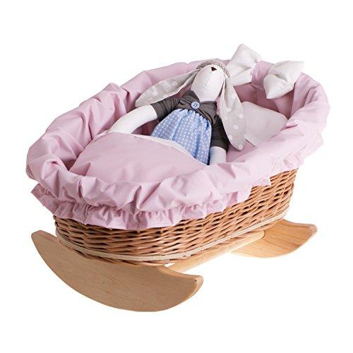 Wicker baby doll rocking cradle, Doll cradle toy, Wicker natural doll cradle, Rocking bed furniture for dolls, Rocking bed toy by Wicker24