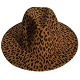 YiyiLai ハット レディース 帽子 メンズ 中折れ フェルトハット つば広帽子 カウボーイハット DIY ヒョウ柄 オークル