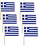 Pack of 6 Greece 12'x18' Stick School Classroom Flags, Greek 12x18 Flags are Mounted on a 30' Wood Staff, Beautiful Colors, Same Day Shipping