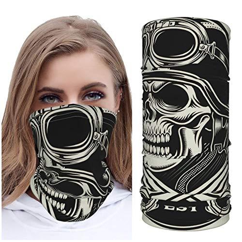 Jack16 Vintage Biker Skull con emblema de pistón cruzado Vector de hielo seda cara M_ask cubierta de cuello Polaina Headwear pasamontañas transpirable para correr a caballo