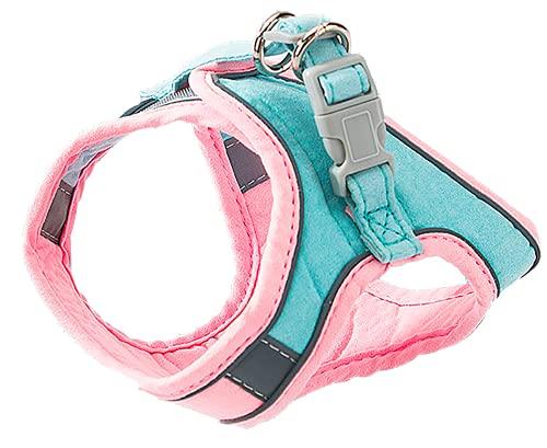 Crea - Arnés para gatos y perros pequeños con correa. Arnés ajustable reflectante, ligero y suave (S, rosa y azul).
