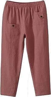 Women's Elastic Waist Casual Crop Linen Pull On Pants