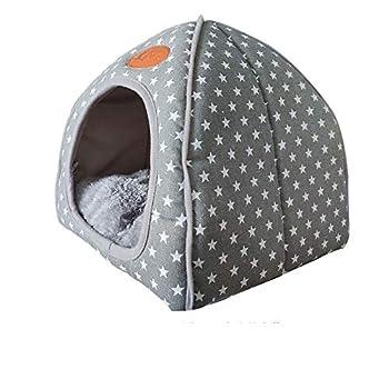 Niche igloo pour chat 2 en 1 pliable confortable et auto-chauffante avec coussin doux amovible pour chats, lapins, petits chiens