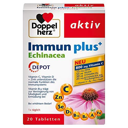 Doppelherz Immun plus+ Echinacea – mit Vitamin C und Zink als Beitrag für die normale Funktion des Immunsystems – 1 x 20 Tabletten