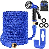 Expandable Garden Water Hose Pipe Expanding Flexible Hose with 8 Function Spray Gun Nozzle Brass Fittings Valve Wall Holder/Storage Bag for Lawn/Pet/Car/Boat Wash (100FT Garden Hose, Blue)