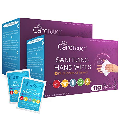 Care Touch Hand Sanitizer Wipes – 220 Individually Wrapped...