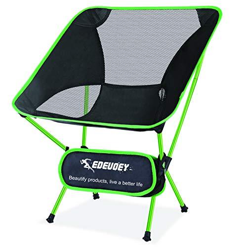 EDEUOEY Mochila ultraligera silla de campamento: viaje senderismo resistente 220 libras plegable compacto portátil ligero capacidad plegable al aire libre playa plegable mochilero