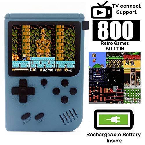 O RLY 800 in 1 Handheld Spielkonsole Retro FC Plus Konsole 800 Retro Classic Spiel, 3 Zoll Bildschirm Mini Videospiel-Spieler (Hellblau)