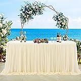 NSSONBEN Falda de mesa de tul, color champán, decoración de mesa para baby shower, niña, boda, cumpleaños, cumpleaños infantil, comunión (champán, 4,5 yards)