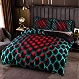 3D Geometric Patterns Printed Softly Bedding Set Stereoscopic Dense Hole Warmly Duvet Cover Set 2/3Pcs with Pillow Case (Queen(Quilt 90' 90'))