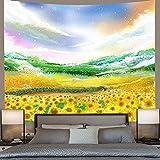 KBIASD Tapiz de Girasol Amanecer Naturaleza Paisaje Seta Mariposa tapices Colgantes de Pared para Sala de Estar decoración del hogar 230 * 150 cm