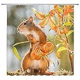 lovedomi Duschvorhang mit süßem Eichhörnchen-Motiv, orangefarbene Blumen, Wildlilie, Frühlingsblumen-Dekoration, Stoff, Badezimmer-Gardinen, wasserdicht, Polyester mit Haken, 152,4 x 182,9 cm