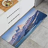 DYCBNESS alfombras de Cocina Antideslizantes Lavables,Escena del Paisaje patagónico Argentino con el Lago y el Famoso Monte Fitz Roy de los Andes como Tema Principal,45x120cm