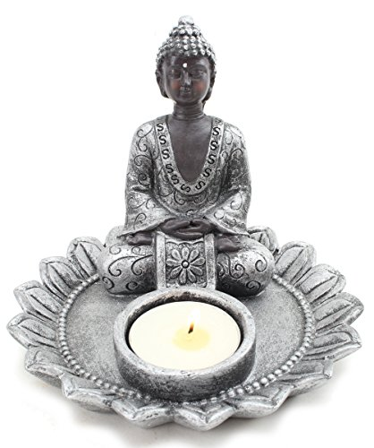 Feng Shui Small 4' Round Thai Meditating Silver Buddha Tea Light Holder / Candle Holder / Incense Holder Figurine (G16642) ~ We Pay Your Sales Tax