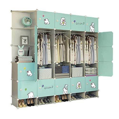 QIFFIY Armario portátil para armario, profundidad de dormitorio, armario modular con puertas, armario de almacenamiento de ropa (color verde, tamaño: C)
