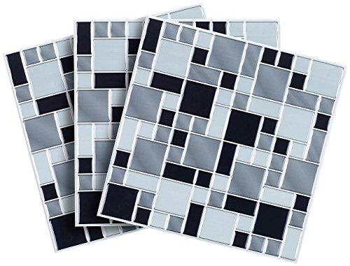 infactory 3D Mosaik Aufkleber: Selbstklebende 3D-Mosaik-Fliesenaufkleber Modern 26 x 26 cm, 3er-Set (Fliesen-Deko)