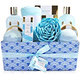Spa Luxetique Spa Gift Baskets for Women, Ocean Spa Gift Set, Luxury 12 Pcs Spa Kit, Relaxing at Home Bath Set Includes Massage oil, Bath Salts, Bath Bombs, Body Scrub, Best Bath Gifts for Women.