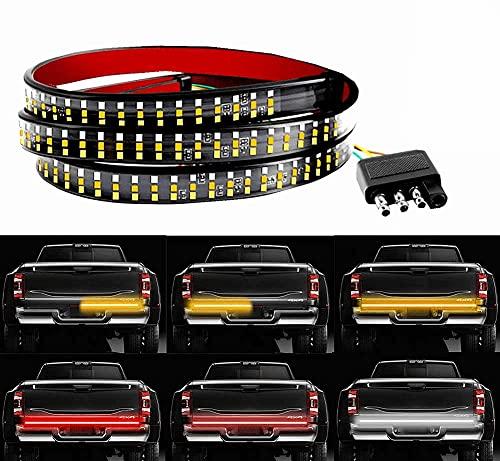 Tailgate Light Bar- 60Inch Triple 504LED Truck Tailgate Strip Light for Running Light Brake Light Turn Signal Light Reverse Light with 4-Pin Flat Connector, Weatherproof No Drill Install