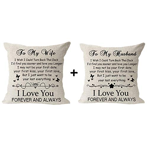 """Set of 2 The Best Blessing Gift to Wife Husband I Love You Forever and Always Cotton Linen Square Throw Waist Pillow Case Decorative Cushion Cover Pillowcase Sofa 18""""x 18"""""""