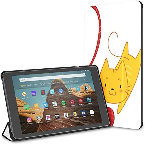 Hülle für süßes Katzenspiel Strickgarn Ball Fire HD 10 Tablet (9./7. Generation, Veröffentlichung 2019/2017) Kindle Fire Tablet 10 Hülle Kindle Book Case Auto Wake/Sleep für 10,1-Zoll-Tablette