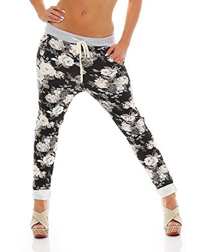 Zarmexx Damen Sweatpants Baggy Hose Boyfriend Freizeithose Sporthose All-Over Roses Print One Size (schwarz, One Size)
