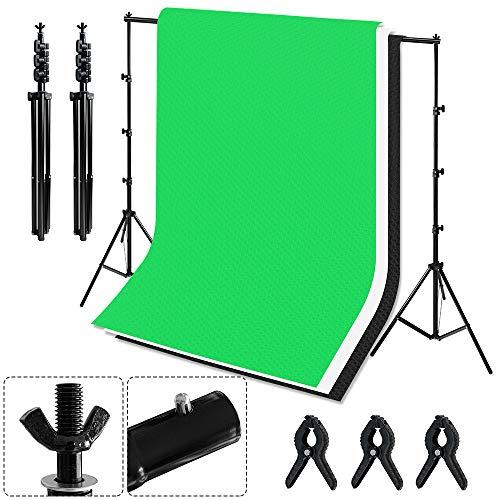 HENGMEI Professionelles Fotostudio Set 2,6 x 3 m Hintergrundsysteme mit Hintergrund 1,8 m x 2,8 m, Stativ, Tragtasche, 3 x Vliesstoff für Hintergrundstoffe Fotoausrüstung Portrait Videoaufnahme