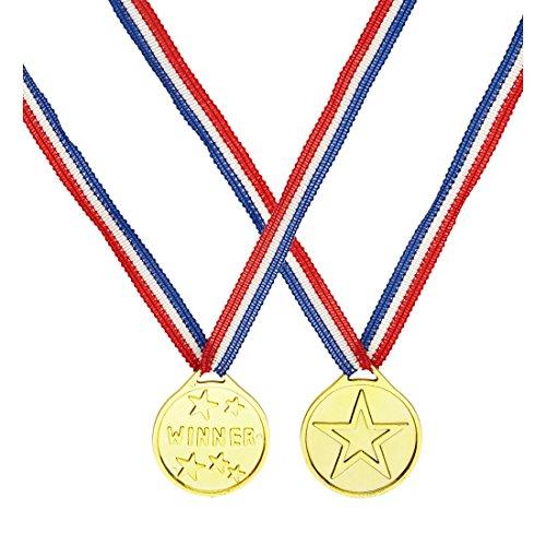 NET TOYS Sieger Medaille Gold Winner Goldmedaille Siegermedaille Gewinner Abzeichen Sportler Kostüm Zubehör Gold Medal